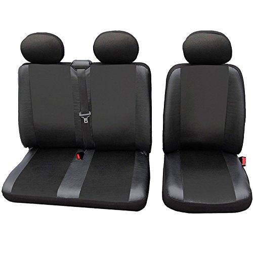 WOLTU AS7326 Cubiertas de Asientos de automóvil universales para Furgonetas, 1 + 2 Fundas de Asiento de Cuero Negro