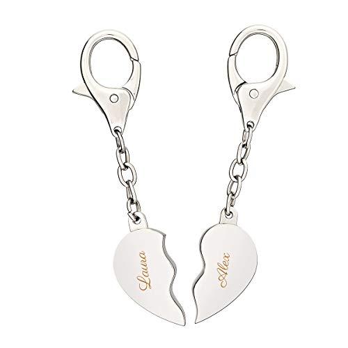 """Geschenkidee.de Schlüsselanhänger mit Gravur   individualisierter Schlüsselhalter mit Wunschnamen in """"Broken Heart"""" Style   2 Teilig mit Karabinerhaken"""
