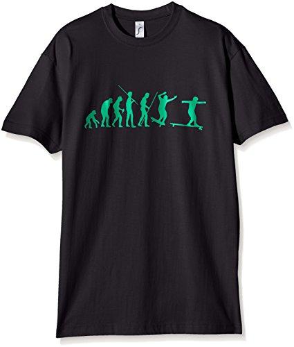 Coole-Fun-T-Shirts Jungen T-Shirt LONGBOARD EVOLUTION !, Gr. Medium, Schwarz (schwarz-green)