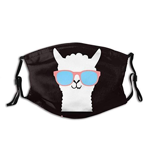 Cool Alpaca Llama con gafas de sol máscara bufanda, lavable reutilizable Bandanas con 2 filtros, para hombres y mujeres al aire libre
