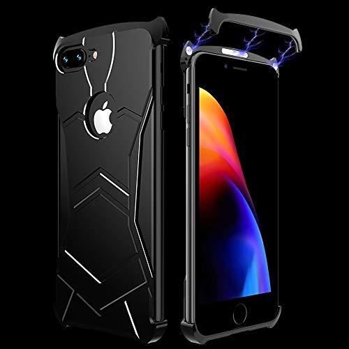 BANAZ Caja del Teléfono De I-Just Imán De Adsorción De Metal Pulido Textura Caja del Teléfono For iPhone 7P / 8P St (Color : Black)