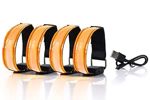 SAIBANGZI Aufladbares LED Armband, Leuchtband für Joggen, Laufen – Sicherheitslicht, Reflektor und Blinklicht für Kinder – Blinkende und statische LED-Funktionen, USB aufladbar (4 Stück) (orange)