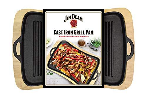 Jimbeam Jim Beam Gusseiserner Grillaufsatz mit Holzuntersetzer JB0206
