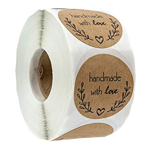 Allouli 500pcs 1 Inch Baked Adhesive Labels Round Handmade with Love Stickers for Gifts, Crafts, DIY Projects, Envelope Sealing