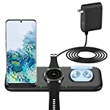 Yootech Update 3 in 1 Fast Wireless Charger,22.5W Max Wireless Charging Station with Adapter for Samsung Galaxy Watch 42mm/46mm/Active2/1,Gear S3/S2/Sport&Galaxy Buds,Galaxy S20/S10[Not for iWatch]