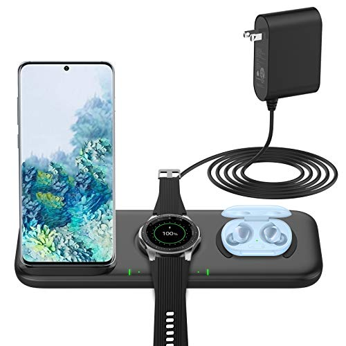 Yootech 3 in 1 Fast Wireless Charger,22.5W Max Wireless Charging Station for Samsung Galaxy Watch 42mm/46mm/Active2/1,Gear S3/S2/Sport&Galaxy Buds,Galaxy S21/S10[with Adapter,Not for iWatch]