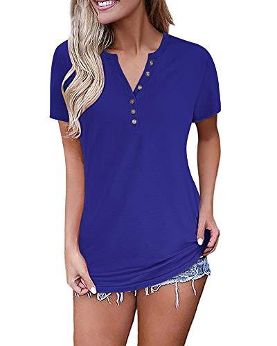 AUSELILY Camiseta Manga Corta para Mujer V Cuello Botones Blusa Casual T-Shirt Deportivo Camisa Transpirable Basic Top para Verano