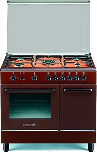 Cucina a Gas con Forno a Gas Ventilato con Grill 90x60 cm Marrone con Coperchio in Cristallo