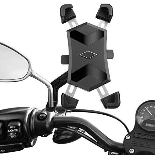 HASAGEI Handyhalterung Motorrad Automatisches Schrumpfen für 4.5-7.2 Zoll Smartphone Motorrad Handyhalter Handy Motorradhalterung Edelstahl mit 360° Kugelgelenk Anti-Shake Abnehmbare(Für Spiegelfuß)