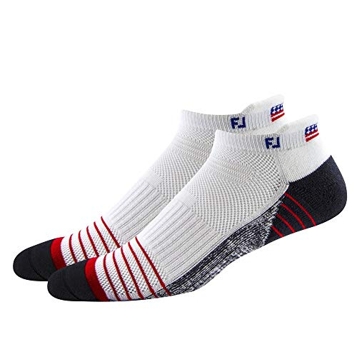 FootJoy TechSof Tour Flag Roll Tab 2-Pack Socks, White, Fits Shoe Size 7-12