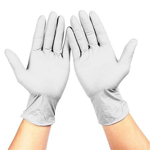 100PCS zwarte wegwerphandschoenen latex afwassen/keuken/medisch/werk/rubber/tuinhandschoenen universeel voor links en rechts, wit, S