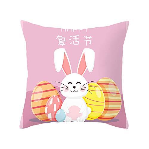 Federa per cuscino pasquale con coniglio, uovo di Pasqua, carota, decorazione floreale, per divano letto (uova di coniglio rosa, taglia unica)
