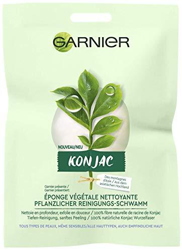 Garnier Gesichtspeeling Konjac Schwamm Pickel entfernen, Konjac Pflanzlicher Reinigungs-Schwamm (1 x 1 Stück)