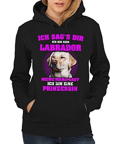 clothinx - Labrador Prinzessin - Girls Kapuzenpullover Schwarz, Größe XL