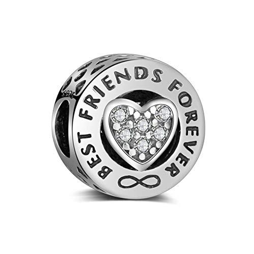 LaMenars Abalorios de Plata de Ley 925 Charms Originales Regalos para Amigo Corazón Colgantes Best Friends Forever para Pandora & Europeo Pulseras y collares Mujer (plata)