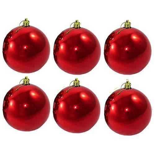 Annastore 6-TLG Set XXL Weihnachtskugeln für Draußen inkl. Beutel Ø 12 - frostsicher und wetterfest zum Hängen Christbaumkugeln Christbaumschmuck Baumkugeln für Outdoor