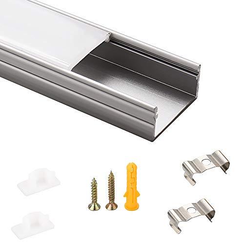 LED-Gigant - Perfil led de aluminio 1 m, 6 unidades, para tiras de LED de hasta 16.4mm, Modell CC-063 incluye cubiertas de color blanco lechoso, tapas de montaje)