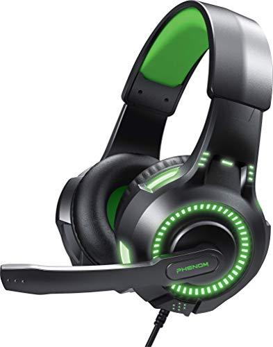Phenom EXP09 Stereo-Gaming-Headset für PS4, Xbox One, Tablet oder Smartphone, Geräuschunterdrückung, Kopfhörer mit Mikrofon und LED-Leuchten, Grün