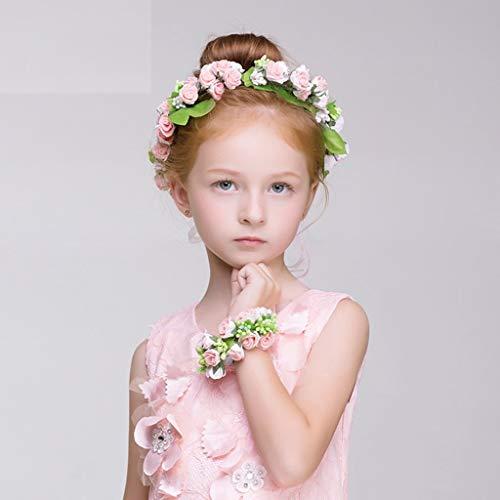 Corona de Flores, Adornos para el Cabello de niña Accesorios de Diadema Corona Tocado de Princesa Infantil (Color: Blanco)