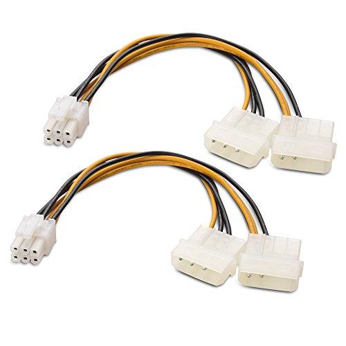 Cable Matters Pacco da 2 Cavo PCI-E 6 Pin a Molex, 2 Molex a PCIe 6 Pin – 6 Pollici