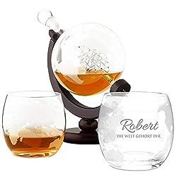 Murrano Whisky Karaffe mit Gravur - Globus mit Schiff, 850 ml - 2er Whiskygläser Set - Whisky Dekanter - personalisiert - Die Welt gehört Dir