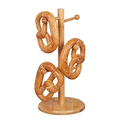 Relaxdays 10024604 Brezelständer aus Bambus, 6-armig, Höhe 35 cm, auch als Wurstständer oder Tassenhalter, Brezelbaum Holz, Natur