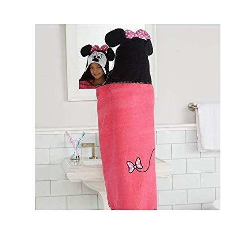 Price comparison product image Disney Minnie Mouse hooded Bath WrapTowel 25 in x 50 in (63.5 cm x 127 cm)