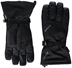 Durable polyester shell with mini-ripstop trim; textured palm and thumb for enhanced grip; genuine leather fingers Waterproof, windproof, and breathable Gore-Tex insert Megaloft synthetic insulation Moisture-wicking lining Gauntlet cuff with drawcord...
