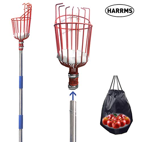 Harrms Fruit Picker Pole Tool 8 FT Fruit Picker with Lightweight Aluminum Telescoping Pole Fruit Picking Equipment for Getting Fruits
