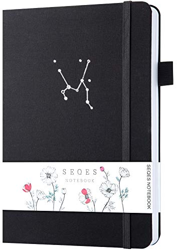 SEQES Dotted Notebook with Pen, Hardcover A5 Thick Paper Dot Grid Notebook, Writing Sketching Journal with Pen Loop, Faux Leather, Inner Pocket, 160gsm, 5.7