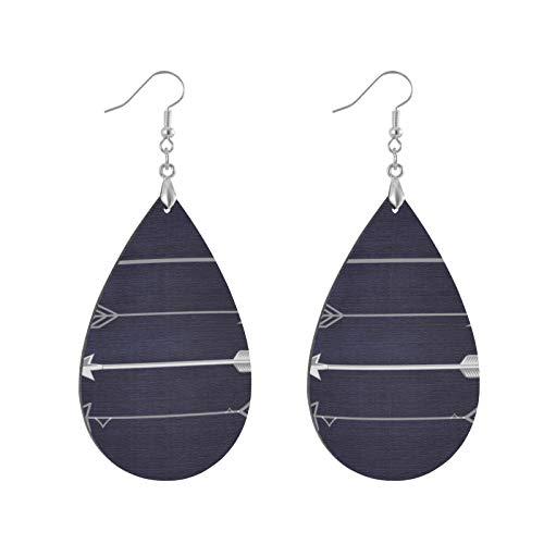 Pendientes colgantes de madera con forma de lágrima, diseño de flechas grises en color azul marino, pendientes de círculo redondo para mujeres y niñas (1 par)