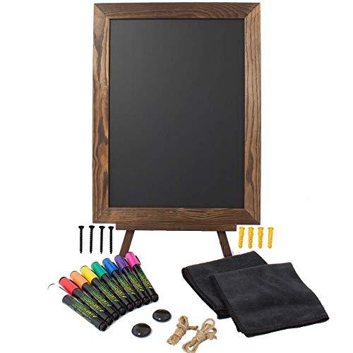 """Chalkboard Sign with Easel Stand Set - Magnetic Chalkboard Sign with Stand - Includes 8 Liquid Chalk Markers and Multiple Accessories - 16""""x12"""" Framed Small Chalkboard Sign by Peraco"""