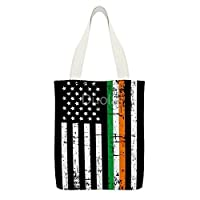Irish American Flag 女性のための再利用可能なショッピングトートハンドバッグの耐久のキャンバスバッグ