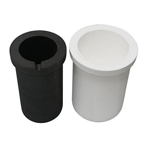 Fcloud Crisol de Grafito con Recipiente de cerámica, refino de fundición para Horno de fusión por inducción, 5 kg de Oro o 2,5 kg de Plata