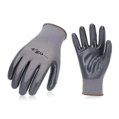 Vgo 10Pairs Nitrile Coating Gardening and Work Gloves (Grey, NT2110)