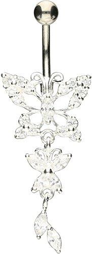 PIERCINGLINE Bauchnabelpiercing Titan | Schmetterlinge 925er Silber | Piercing Bananabell Banane | Farbenauswahl