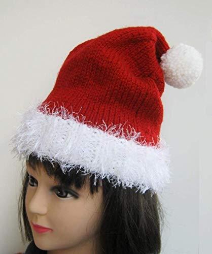 Weihnachtsmütze Mütze Weihnachten Nikolausmütze Weihnachtsfeier Rot Santa Mütze Nikolaus handgestrickt handmade für Damen Herren Kinder