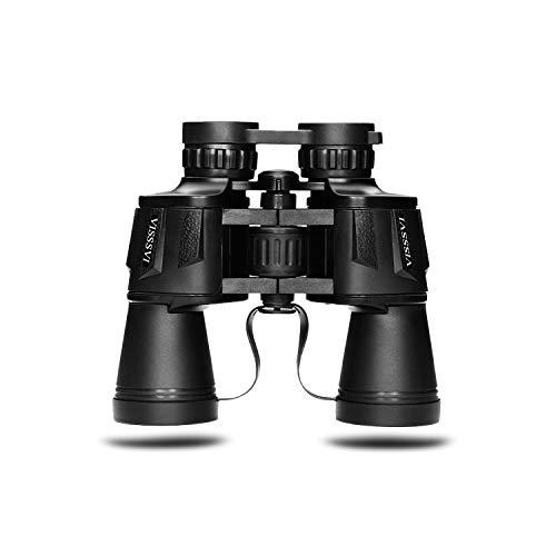 VISSSVI Binoculares Potentes Adultos Binoculares Transparentes Impermeables de tamaño Completo para Observación de Evento Deportivo,Observación Animales (Negro-12 * 50)