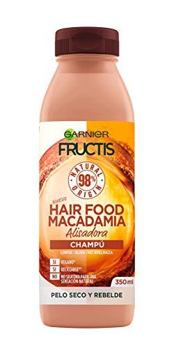 Garnier Fructis Hair Food Champú de Macadamia Alisadora para Pelo Seco y Rebelde - 350 ml