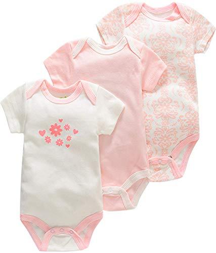 Bestele Baby Bodys, Baby Body set Kurzarm für Jungen und Mädchen Neugeborene Unisex, Baumwolle mit Aufdruck Sprüchen Weiß Baby Bodys 0-3 3-6 -6-9 9-12 12-18 18-24 Monate (3*Set 2 W, 0-3 Monate)