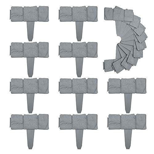 LoveStory - Bordes de jardín de plástico con imitación de Piedra, Valla de césped, Efecto Piedra, para huertos, para Plantas de jardín, 25 x 23,5 cm