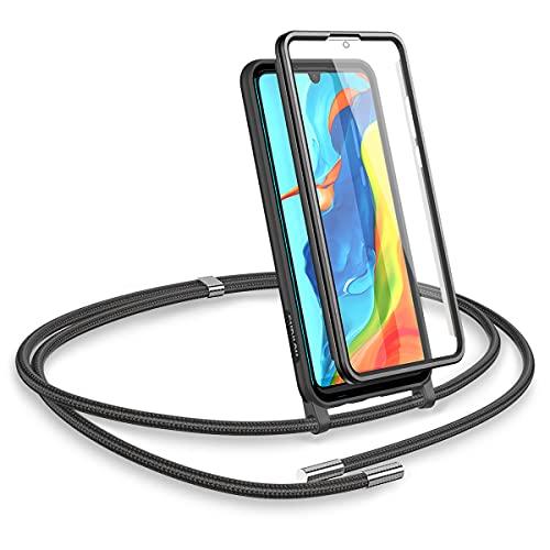 SURITCH Compatible con Huawei P30 Lite Funda Cruzada con cordón y Cuerda con Protector de Pantalla Incorporado Funda de Silicona TPU para con Correa para el para Huawei P30 Lite(Negro)