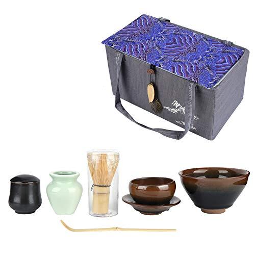 KUIDAMOS Exquisito Juego de té de cerámica, Juego de Cepillo de té de cerámica Japonesa, Herramientas Matcha, Juego de té, Ceremonia del té, Juego de té, Juego de té, Cuenco(Pelo de Conejo)