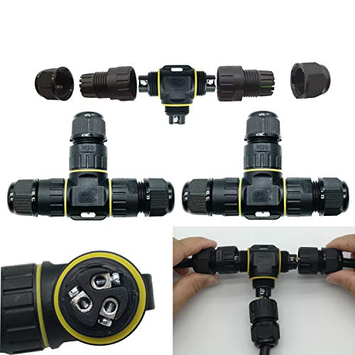 CTRICALVER Kabelanschlussdose für den Außenbereich | T-Form Kabelverbinder | Wasserdicht IP68 Verbindungsbox für Ø9-12 mm 3-poliger Kabelschnellverbinder Schwarz 2 Stück