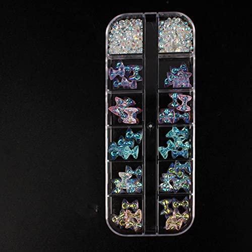 Caja de 12 rejillas 60 piezas 3D lindo oso/mariposa resina decoración de uñas Aurora Rhinestone para uñas brillo DIY accesorios de manicura