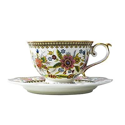 Tea Cup and Saucer Set Red Flowers Fine Bone China Vintage Porcelain Coffee Cup Set 6.8oz