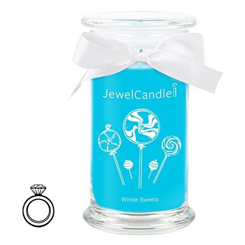 JewelCandle Winter Sweet - Candela in Vetro con Un Gioiello - Candela profumata Azzurra con Una Sorpresa in Regalo per Te (Anello in Argento, Tempo di combustione: 90-125 Ore)(M)
