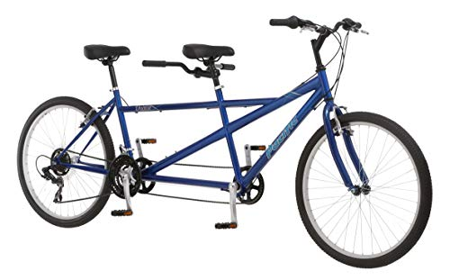 Pacific Dualie Adult Tandem Bike, 26-Inch Wheels, 2-Seater, 21-Speed, Linear Pull Brakes, Blue