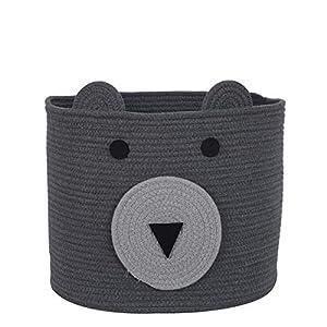 """InfiBay Bear Basket Storage Bin, Toy Storage Basket, Baby Clothes Hamper, Cotton Rope Woven Basket for Nursery, Baby Toy Bin Storage, Nursery Basket Organizer, 16""""(D) x 14""""(H)"""