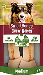 Medium chewy bones without rawhide With tasty chicken Chewing fun with vegetables in the outer layer Ideal for medium-sized dogs Vitamin and mineral enriched